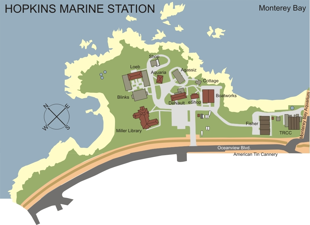 map of Hopkins Marine Station showing major buildings and layout